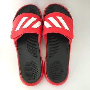 Adidas Alphabounce basketball slides sandals red